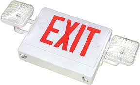 Best Lighting Products LED Exit/Emergency Combo Fixture White with Red Lettering, Self Diagnostic Testing Unit 120/277V (LEDCXTEU2RW-SDT)