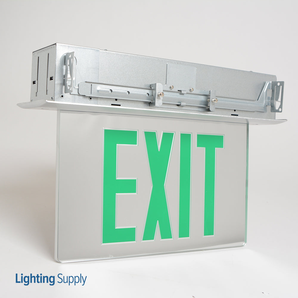 Best Lighting Products LED Single Faced Mirrored Recessed Edge Lit Exit Sign with Green Letters - Battery Backup (RELZXTE1GMAEM)