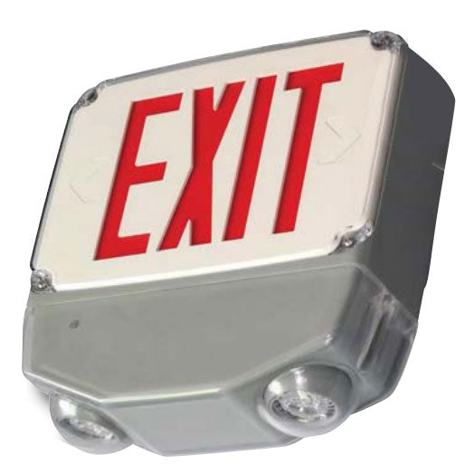 Best Lighting Products Wet Location Exit & Emergency COMBO. Single Face Red Letters Optional Housing (White - Gray - Black) (CWLEZXTEU1RW)