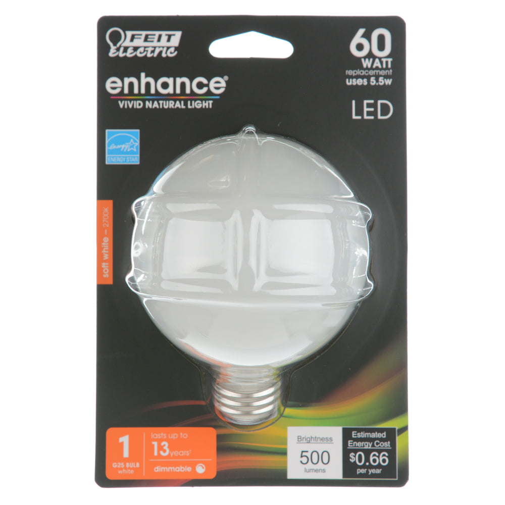 Feit Electric LED Globe G25 60W Equivalent500 Lumens - Filament White Glass - Medium- 2700K CEC Compliant Bulb (BPG2560W/927CA/FIL/2/RP)