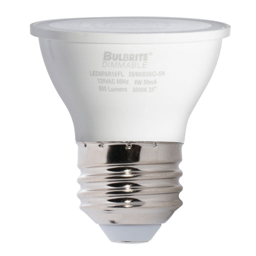Bulbrite LED6PAR16FL35/60/827/D-SN 6W LED PAR16 SN 2700K Flood E26 Dimmable 80 CRI 120V Enclosed Rated (771409)
