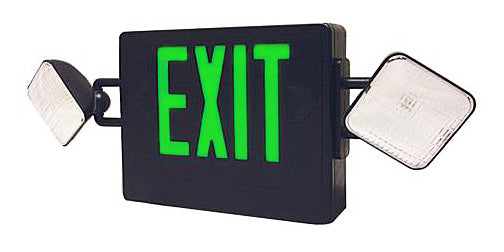 Best Lighting LED Double Faced Black Exit/Emergency Combo With Green Letters - Remote Head Capable - Incandescent Lamp Heads - Battery Backup (CXTEU2GB-RC)