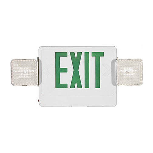 Best Lighting LED Double Faced White Exit/Emergency Combo With Green Letters - Remote Head Capable - Incandescent Lamp Heads - Battery Backup (CXTEU2GW-RC)
