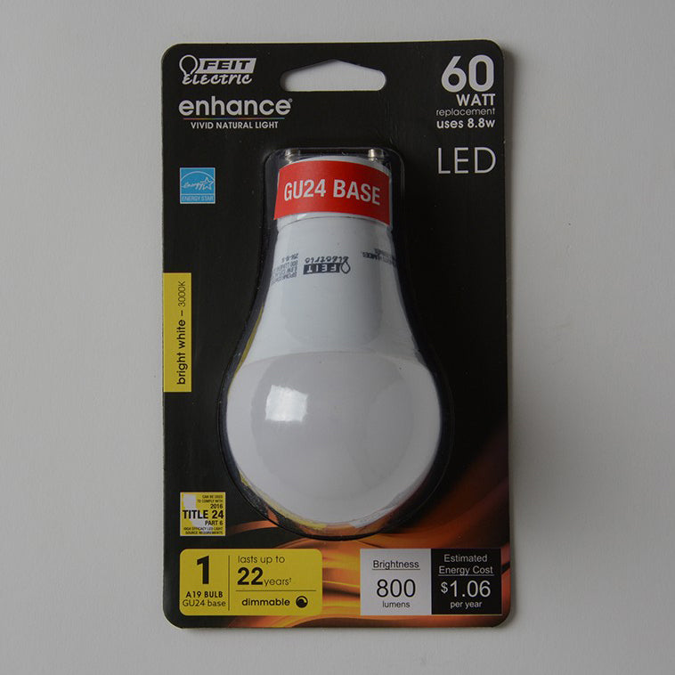 FEIT 8.8 Watt A19 LED - GU24 Base 3000K Dimmable 120V