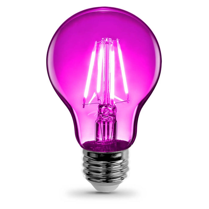 Feit Electric Filament Colored LED 3.6W, Med Base A19, Transparent Pink Bulb (A19/TPK/LED)