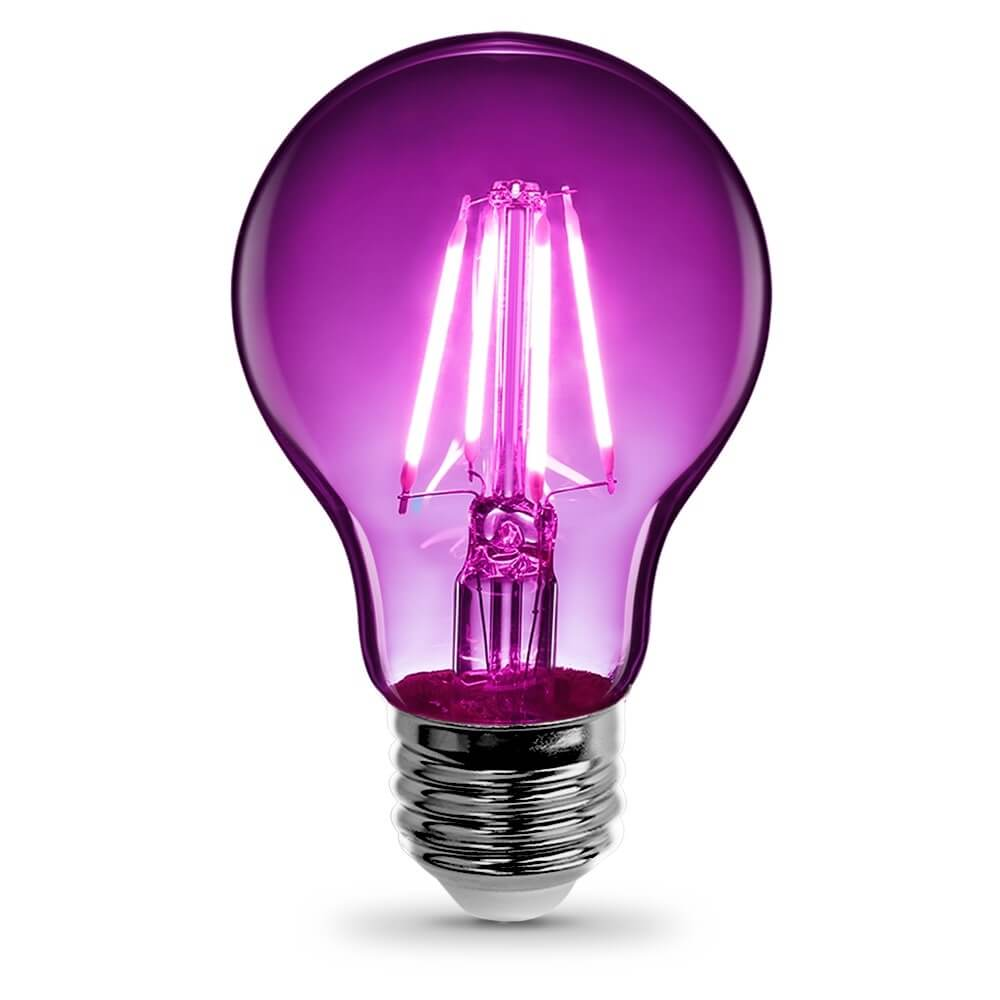 Feit Electric Filament Colored LED 3.6W, Med Base A19, Transparent Purple Bulb (A19/TP/LED)