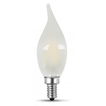 Feit Electric Filament LED, 60 Watt Equivalent, Dimmable, Bent Tip, Candelabra Base, Frost, Decorative Bulb, 500 Lumen, 5000K Bulb, 2 Pack (BPCFF60/827/LED/2)