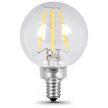Feit Electric Filament LED, 60 Watt Equivalent, Dimmable, Candelabra Base, Clear, Globe G16.5, 500 Lumen, 2700K Bulb, 2 Pack (BPG1660/827/LED/2)