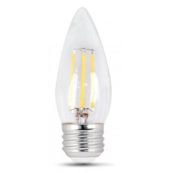 Feit Electric Filament LED, 60 Watt Equivalent, Dimmable, Torpedo Tip, Medium Base, Clear, Decorative Bulb, 500 Lumen, 5000K Bulb, 2 Pack (BPETC60/850/LED/2)