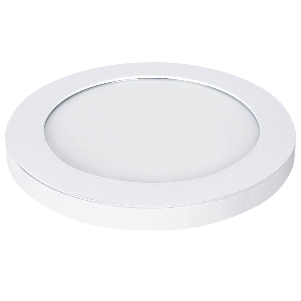 "Feit Electric 4000K Dimmable LED 11"" Ultra Slim Round Flat Panel, Edge-Lit Design, Flush Mount, White Trim Fixture (74050)"