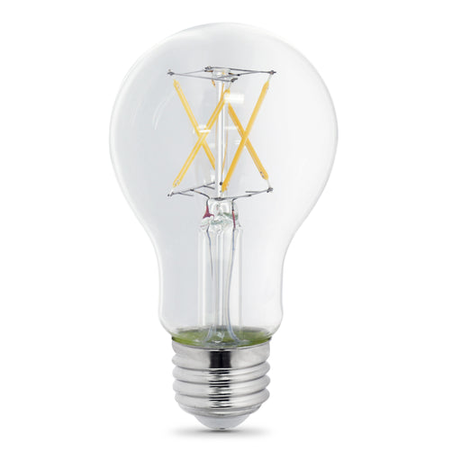 Feit Electric LED A19 40W Equivalent, 450 Lumens, Filament Clear Glass, Medium Base, 2700K 2 Pack, CEC Compliant Bulb (BPA1940CL927CA/FIL/2)