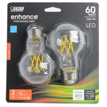 Feit Electric LED A19 60W Equivalent 750 Lumens Filament Clear Glass Medium Base 2700K 2 Pack CEC Compliant Bulb (BPA1960CL927CAFIL2RP)