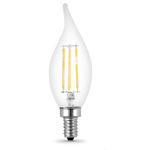 Feit Electric LED B10 40W Equivalent, 300 Lumens, Filament Clear Glass, Dimmable, Candelabra, 2700K 4 Pack, CEC Compliant Bulb (BPCFC40/927CA/FIL/4)