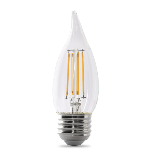 Feit Electric LED B10 60W Equivalent, 500 Lumens, Filament Clear Glass, Dimmable, Medium, 2700K 2 Pack, CEC Compliant Bulb (BPEFC60/927CA/FIL/2)