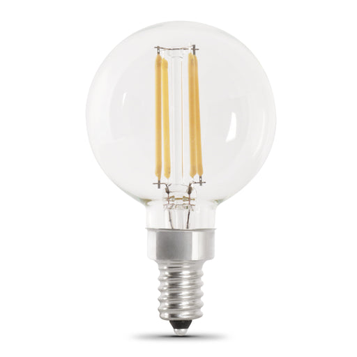Feit Electric LED Globe G161/2 40W Equivalent, 315 Lumens, Filament Clear Glass, Candelabra, 2700K 2 Pack, CEC Compliant Bulb (BPG1640/927CA/FIL/2)