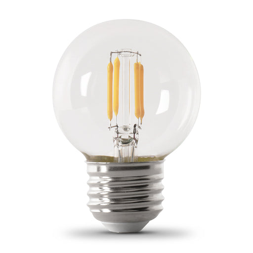 Feit Electric LED Globe G16 1/2 60W Equivalent - 500 Lumens - Filament Clear Glass - Medium- 2700K 2 Pack - CEC Compliant Bulb (BPGM60/927CA/FIL/2/R)