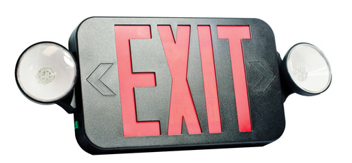 Fulham Firehorse- Exit And Emergency Light Combo - Mini LED - Black Housing - Red Letters (FHEC30BR)