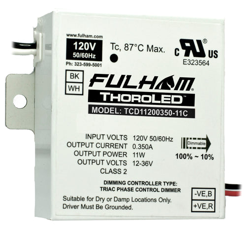 Fulham ThoroLED - Single Channel - Triac Dimming LED Driver - 120V Input - 350mA Constant Current Output - Max 11W - Compact Case (TCD11200350-11C)