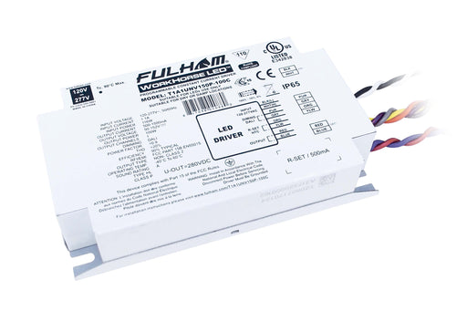 Fulham WorkHorse LED Extreme - Single Channel - DALI Dimming LED Driver - Universal Voltage Input - Programmable 500-1500mA Constant Current Output - 100W Max - Compact Case w/ End Terminals - IP65 (T1A1UNV150P100C)