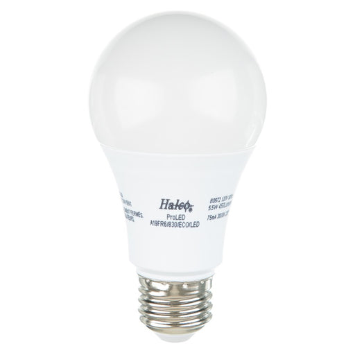 Halco 83972 6 Watt LED A19 3000K 120V 82 CRI Medium (E26) Base Frost Bulb (A19FR6/830/ECO/LED3)