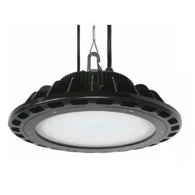 "Litetronics 125 Watt 16"" LED 0-10V Dimmable Round High Bay Fixture - 5000K 120V-277V 84 CRI 15,000 Lumen Waterproof IP65 Frosted Glass Lens Black - DLC Standard (HB125B150DL)"