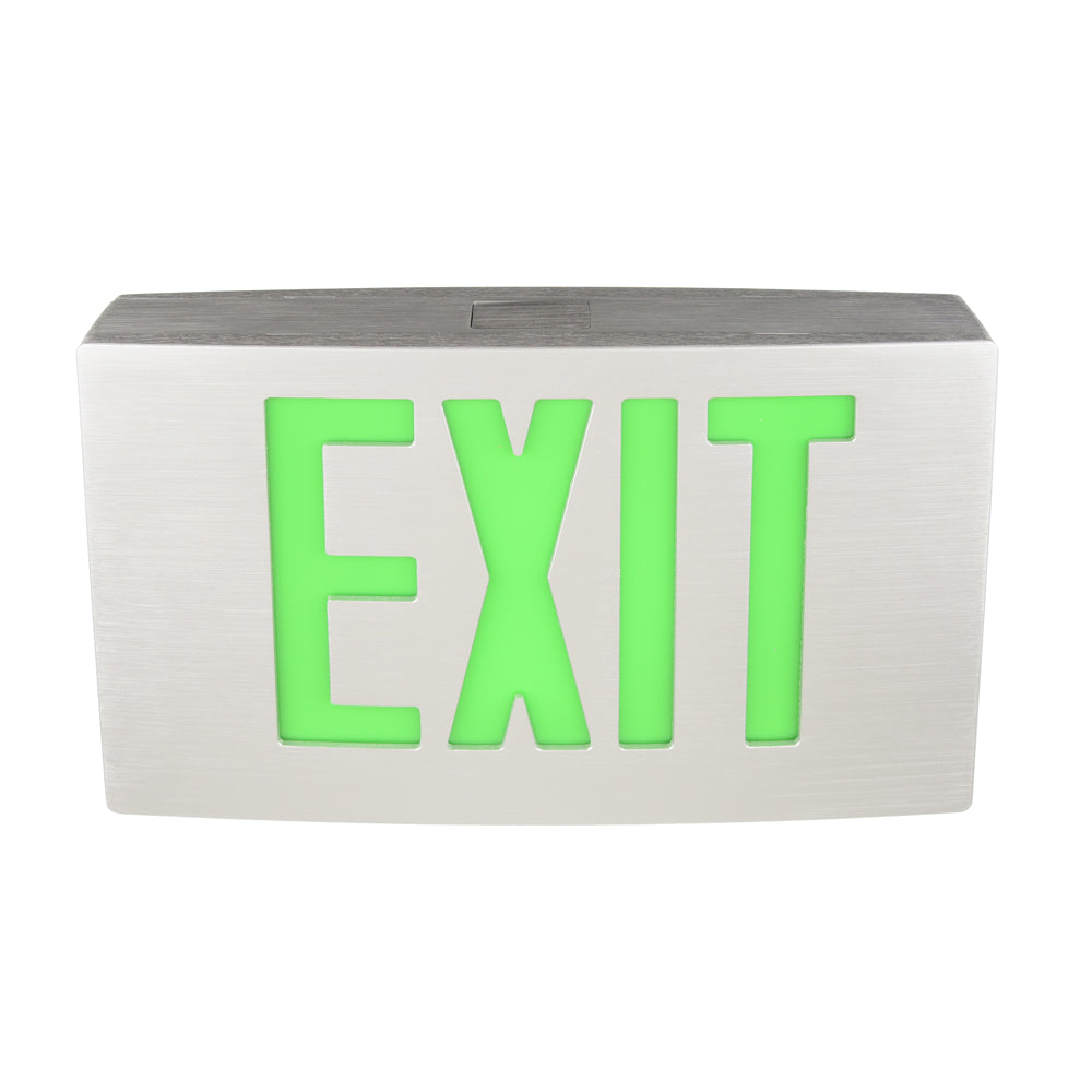 Best Lighting Die Cast Aluminum Double Face LED 120-277V Exit Sign with Battery Back-up (KXTEU-2-G-A-A-EM)