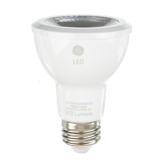 GE 93362 PAR20 LED 7W 500 Lumens 80 CRI Screw-In Medium Dimmable Indoor Spotlight (LED7DP203W827/35)