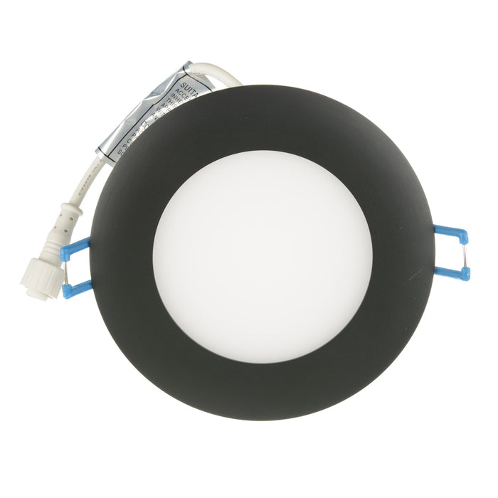 Lotus LED LightS Super Thin 9W LED 4 Inch Round 3000K Black 110 DEG 550 Lumens Type IC Damp ES CRI 80 (LY4RCS/30K/BK)