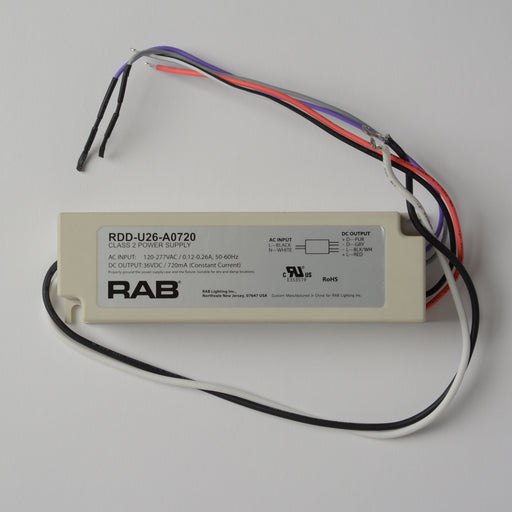 RAB Driver 26W 120-277V 720Ma Dimmable 50/60Hz 69134 (RDD-U26-A0720)