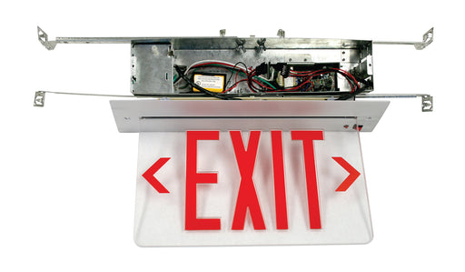 Best Lighting Products LED Single Faced MYLAR Mirrored Recessed Edge Lit Exit Sign With Red Letters - Battery Backup (RELZXTE1RMAEM)