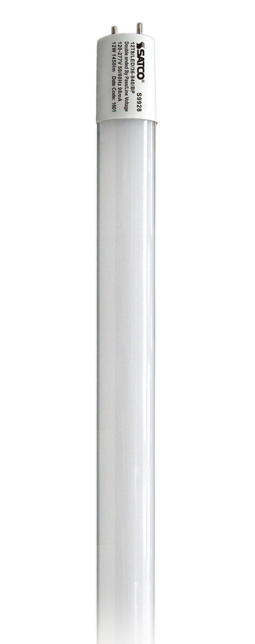 "Satco 12 Watt 36"" T8 Linear LED 4000K 120V-277V 1450 Lumen 82 CRI Double Ended Wiring Medium Bipin (G13) Base Direct Wire Non-Dimmable Glass Tube (12T8/LED/36-840/BP)"