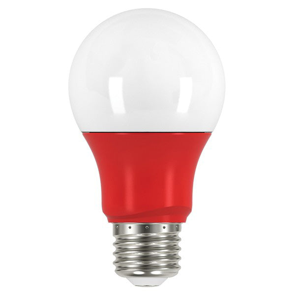 Satco S9642 2 watt; A19 LED; Red when lit; Medium base; 120 volts (2A19/LED/RED/120V)