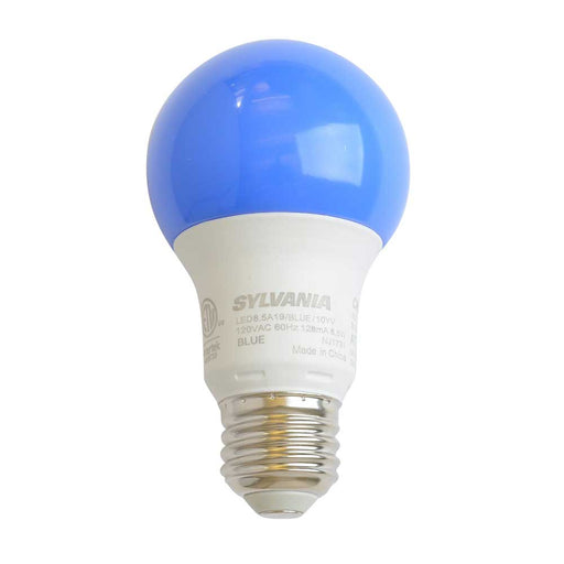 Sylvania 74714 8.5 Watt A19 LED 120V Medium (E26) Base Blue Bulb (LED8.5A19BLUE10YVBL)