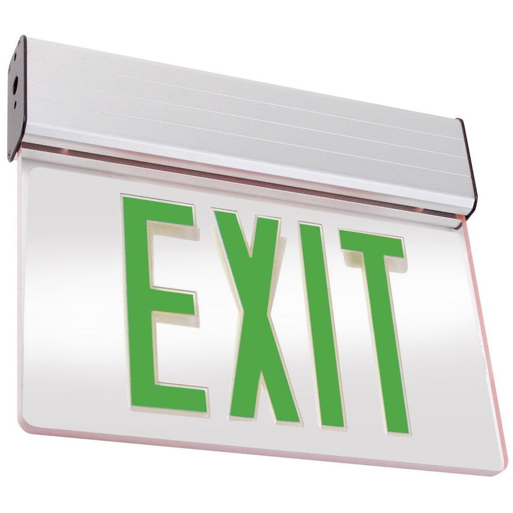 Best Lighting Products LED Double Faced Mirror Edge Lit Exit Sign with Green Letters - Battery Backup (ELXTEU2GMAEM)