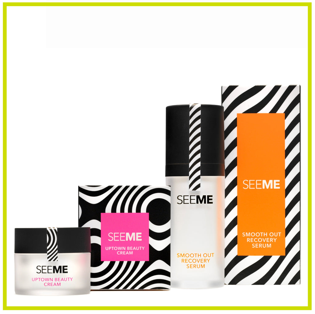 SeeMe Dynamic Duo- Smooth Out Recovery Serum & Uptown Beauty Cream images of jar, pump and boxes