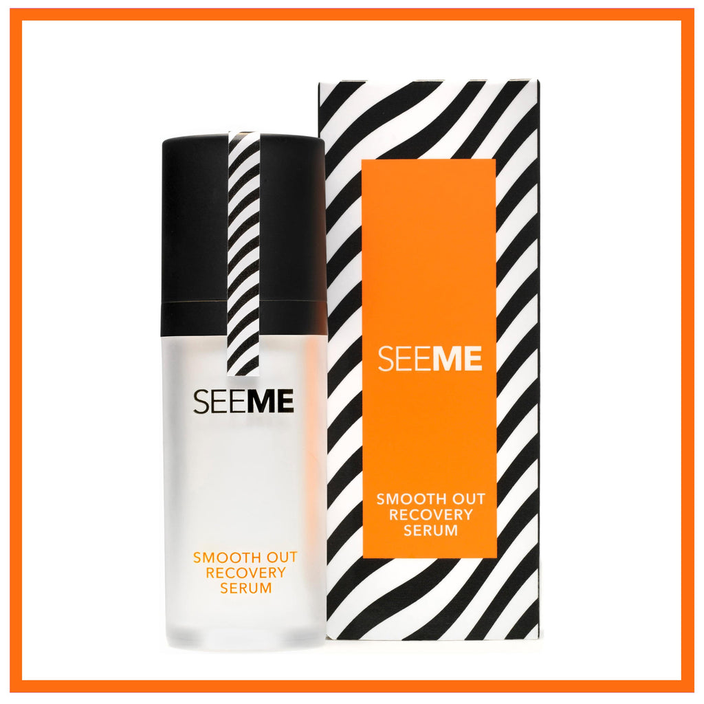 SeeMe Smooth Out Recovery Serum with SeeMe Complex and Hyaluronic Acid. Image of serum pump and box