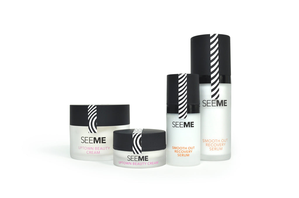 SeeMe Smooth Out Recovery Serum with Hyaluronic Acid and Uptown Beauty Cream images of the full size product along with their Mini/Travel size counterparts