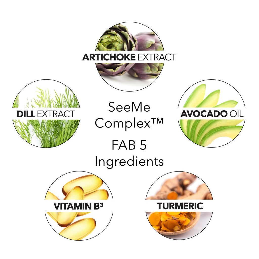 SeeMe Complex image of Fab 5 Ingredients: Artichoke extract, Dill, Turmeric, Avocado oil and Vitamin B3