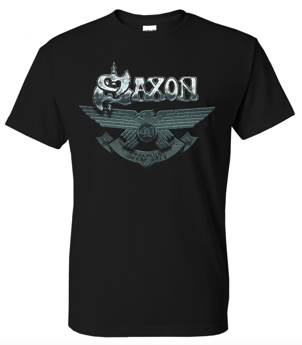 LAST CHANCE - 40th Anniversary T Shirt - Celebrating 40 Years of Saxon