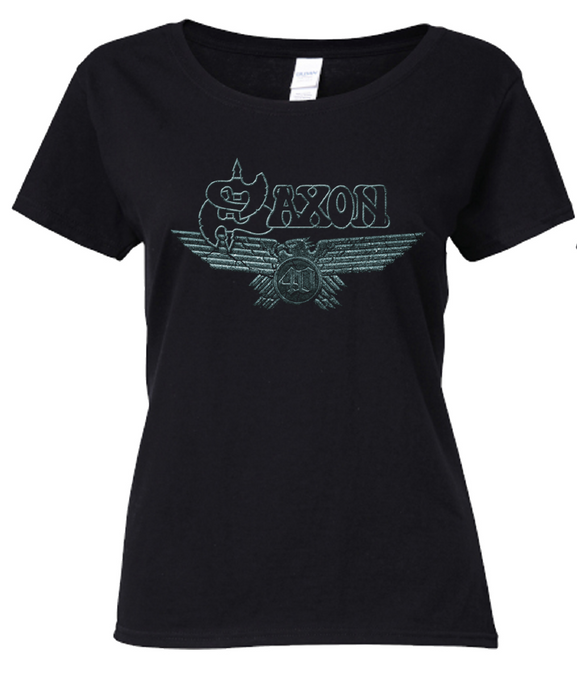 LAST CHANCE - 40th Anniversary Ladies T Shirt - Celebrating 40 Years of Saxon