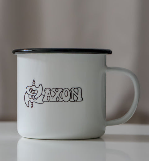 White Enamel Mug with Saxon Logo