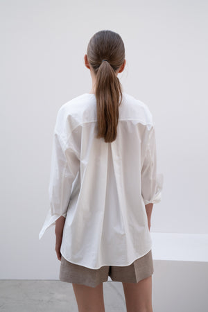 COLLARLESS COTTON SHIRT IVORY