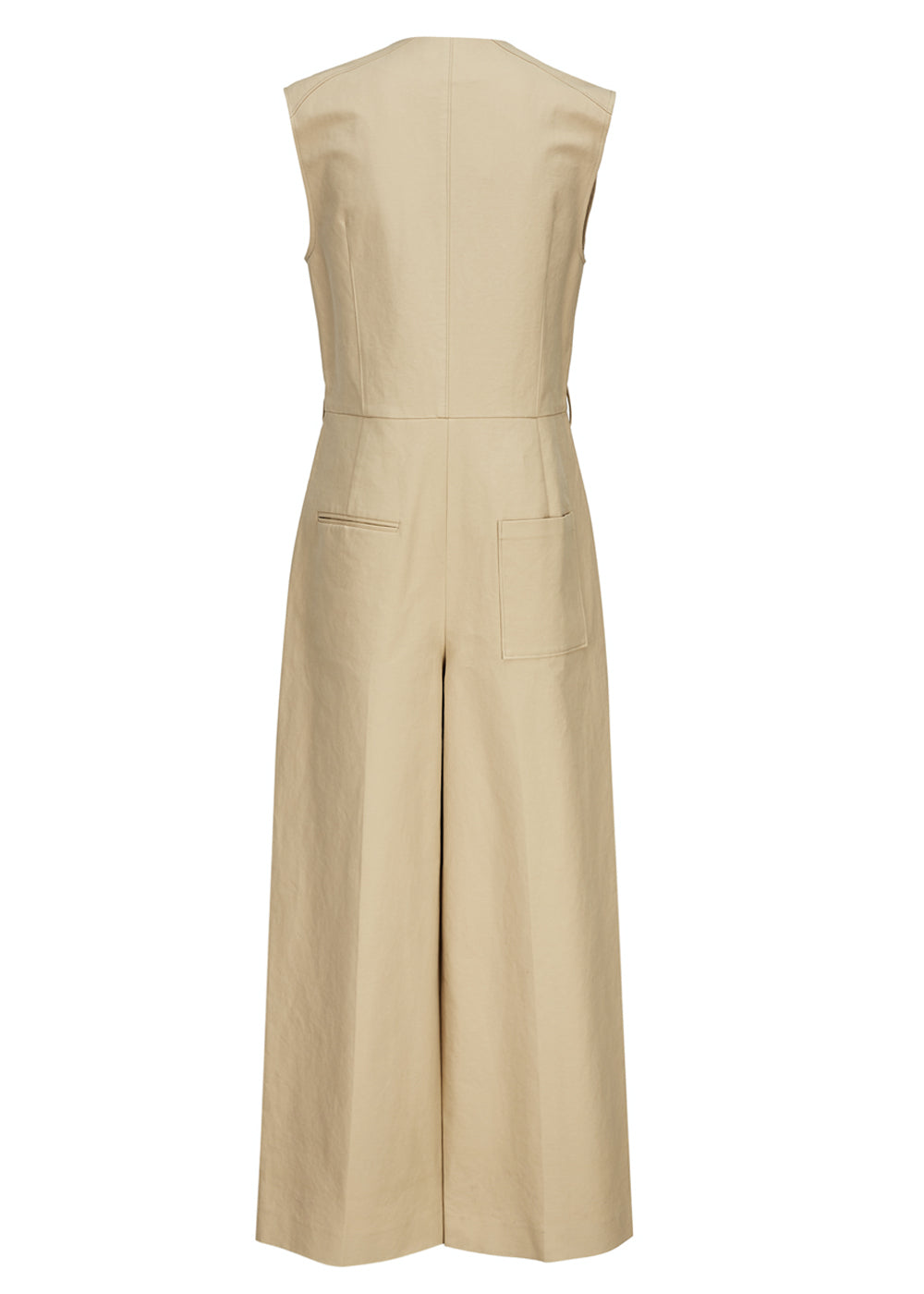 COTTON POCKET JUMPSUIT BEIGE