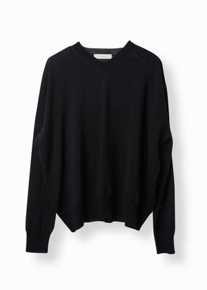 V-NECK KNIT SWEATSHIRT