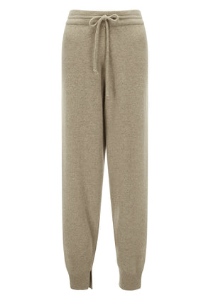 MERINO WOOL JOGGER KNIT PANTS DEEP BEIGE