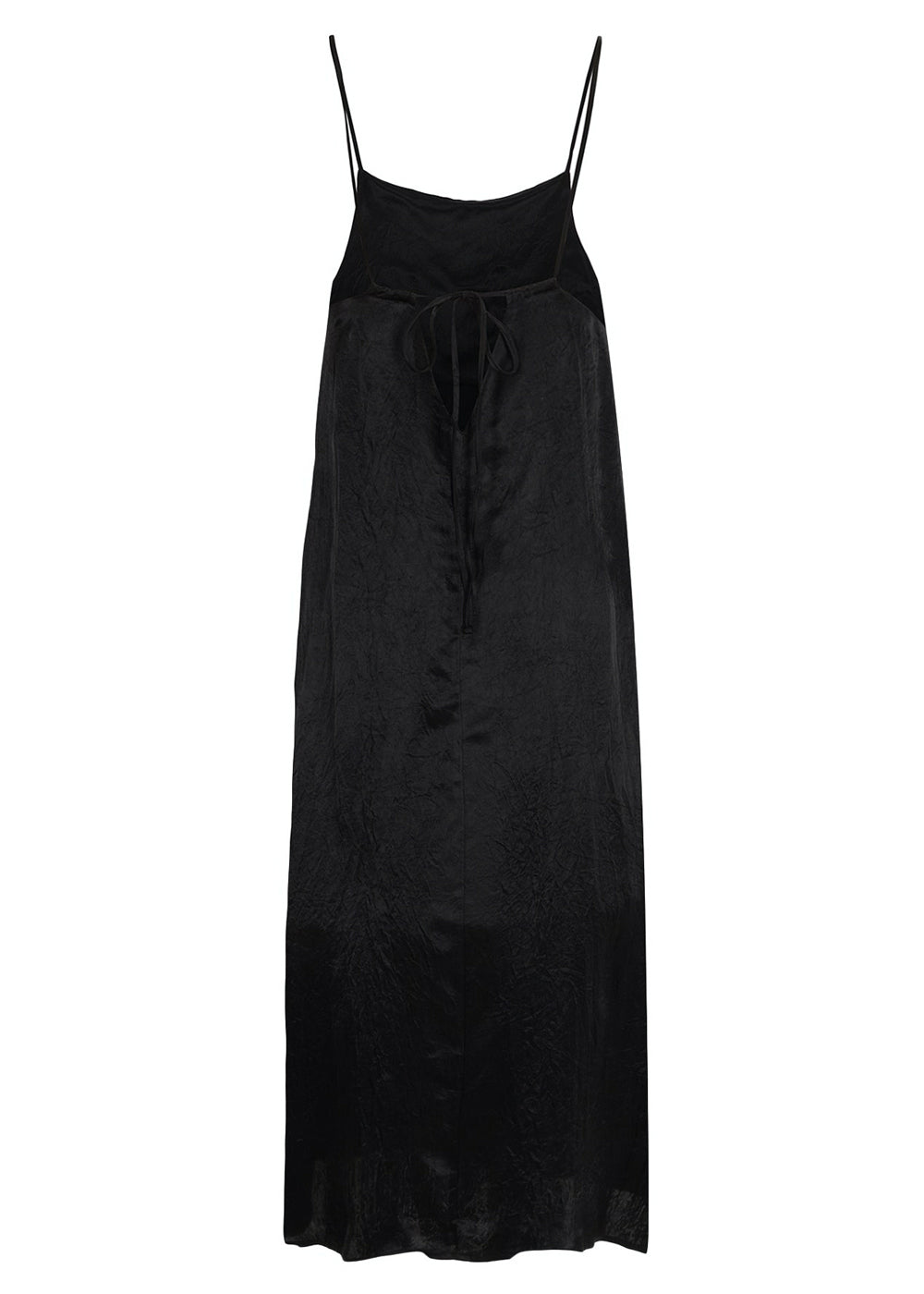 LAYERED SATIN DRESS BLACK