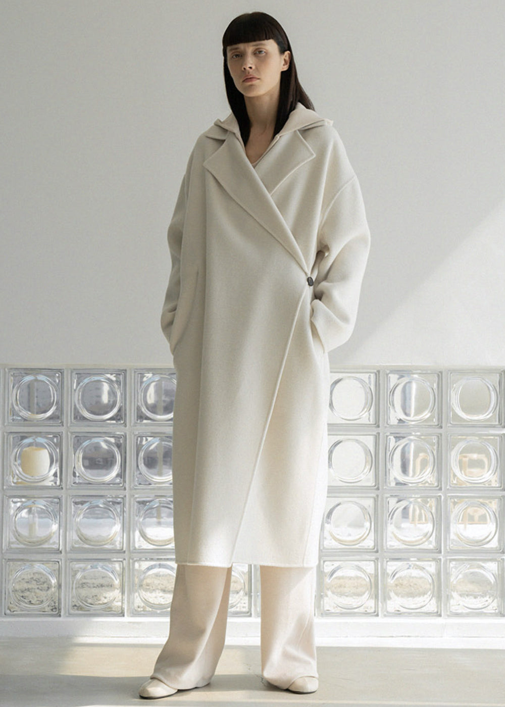 HANDMADE WOOL ONE BUTTON COAT CREAM