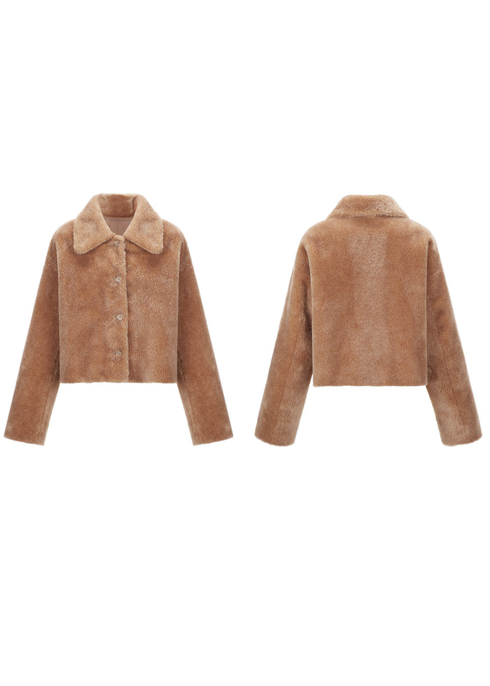 SHEARING REVERSIBLE CROP JACKET BEIGE
