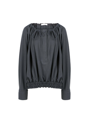 SHIRRING BLOUSE CHARCOAL