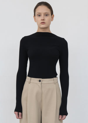 BOATNECK TWILL T SHIRT BLACK